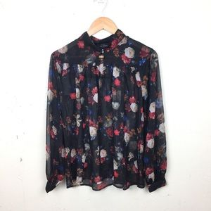 Lucky Brand Black Floral Sheer Mock Neck Blouse